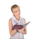 Beautiful business woman with red notebook Royalty Free Stock Image