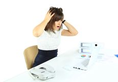 Beautiful business woman scared Royalty Free Stock Photos