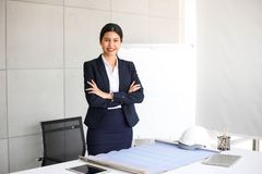 Beautiful Business Woman secretary in office at workplace,Asian Woman Success for Work Confident for Work with Success concept.  royalty free stock image