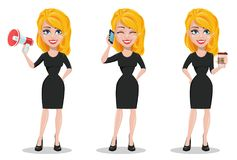 Beautiful business woman. Set with blonde businesswoman. In formal wear with a loudspeaker, with smartphone and with coffee. Cute cartoon character. Vector vector illustration