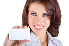 Beautiful business woman showing a business card Stock Photo