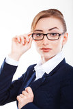 Beautiful  business woman showing tablet Royalty Free Stock Image