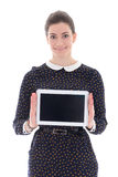 Beautiful business woman showing tablet pc with blank screen iso Stock Image