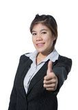 Beautiful business woman showing thumb up hand, business concept of success, goodjob, approve, accept, agree and positive result Stock Photos
