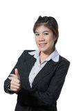 Beautiful business woman showing thumb up hand, business concept of success, goodjob, approve, accept, agree and positive result Stock Photo