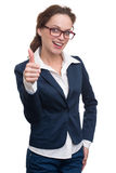 Beautiful business woman showing thumb up Stock Image