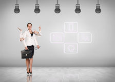 Beautiful business woman with six arms Stock Photos