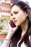 Beautiful Business Woman On Smart Mobile Phone Royalty Free Stock Photos