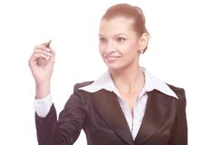Beautiful business woman smiling isolated over a white Stock Images