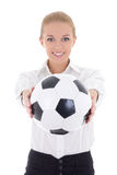 Beautiful business woman with soccer ball isolated on white Stock Image