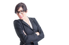 Beautiful business woman sticking tongue out Stock Images