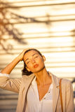 Beautiful business woman at street in hot day. Royalty Free Stock Image