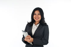 Beautiful business woman with tablet computer Stock Image
