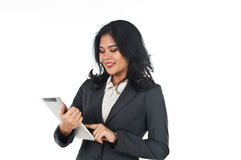 Beautiful business woman with tablet computer Royalty Free Stock Photo