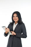 Beautiful business woman with tablet computer Stock Photo