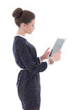 Beautiful business woman with tablet pc isolated on white Stock Photo