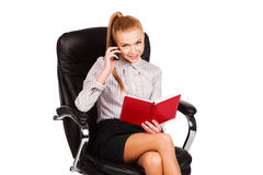 Beautiful business woman talking on mobile phone Stock Photos