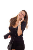Beautiful business woman talking on the phone smiling stock photography