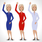 Beautiful business woman. Three business women in red, white and blue dresses, with Beautiful smile. Welcome gesture - a raised hand. WithBeautiful smile Stock Photos