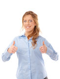 Beautiful business woman with a thumbs up Stock Images