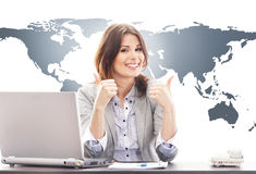 Beautiful business woman with thumbs up Stock Photos