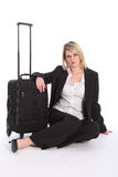 Beautiful business woman traveller with suitcase Stock Images