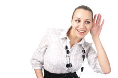 Beautiful business woman trying to hear. Ring some sound isolated over white background stock photo
