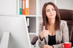 Beautiful Business woman typing on laptop. Attractive business woman working on laptop computer Stock Photos