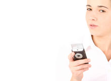 Beautiful business woman using cell phone Stock Photo