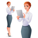 Beautiful business woman using tablet computer. Vector illustration. Stock Photography