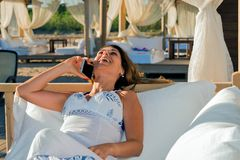 Beautiful business woman on vacation Royalty Free Stock Image