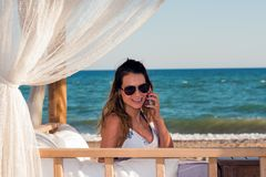 Beautiful business woman on vacation Stock Photo