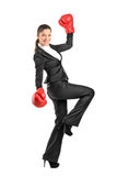 Beautiful business woman wearing boxing gloves Royalty Free Stock Images