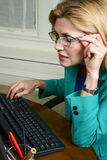 Beautiful Business Woman Wearing Glasses Stock Photography