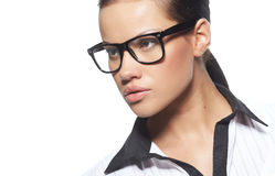Beautiful business woman wearing glasses Stock Photos