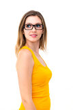 Beautiful business woman wearing glasses Royalty Free Stock Photos