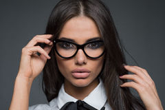 Beautiful business woman wearing glasses Royalty Free Stock Image