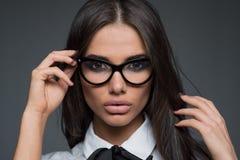 Beautiful business woman wearing glasses Royalty Free Stock Image