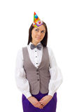 Beautiful business woman wearing party cap Royalty Free Stock Images