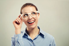 Beautiful business woman wearing white eye glasses Stock Photography