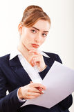 beautiful  business woman on white background Stock Photos