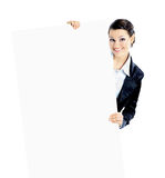 Beautiful business woman with a white banner. Stock Image