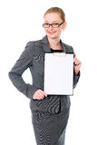 Beautiful business woman with a white banner Royalty Free Stock Photo