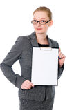 Beautiful business woman with a white banner. Royalty Free Stock Image