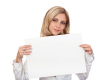 Beautiful business woman with white poster. Stock Image