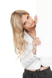 Beautiful business woman with white poster. Stock Photo