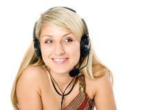 Beautiful Business Woman With Headset. Royalty Free Stock Photos