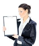 Beautiful business woman with the work plan, Stock Photos