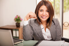 Beautiful business woman at work Stock Images
