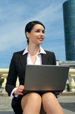 Beautiful business woman working on Stock Photography